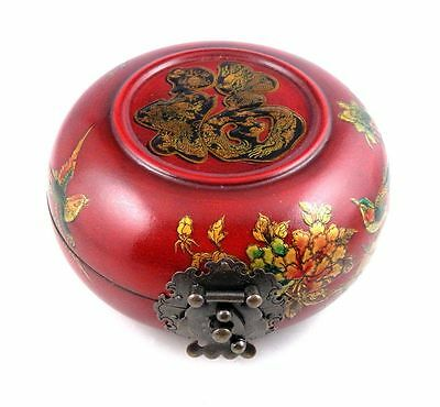 Wooden Crafted Red Glazed Round Jewelry Box Birds Flowers Blessing #03071601