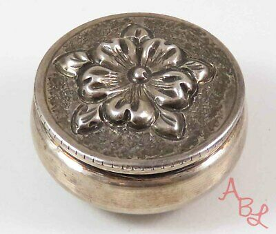 """Mk Signed Sterling Silver Repousse Antique 925 Pill Box """"small dings"""" (8.2g) -"""