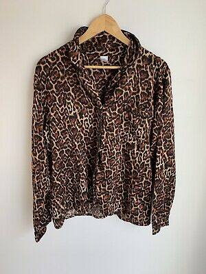 Bras N Things Leopard Print Long Sleeve PJ Top Size 14