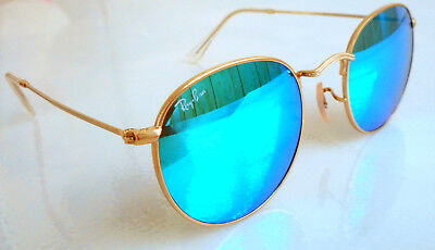 e7efff6131 New Authentic RAY BAN Round Sunglasses RB3447 112/17 Gold Turquoise Mirror  Lens