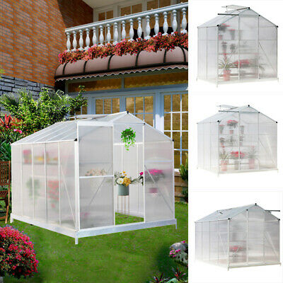 Aluminium Greenhouse WalkIn Large Clear Polycarbonate Gardening Shed Base Choose