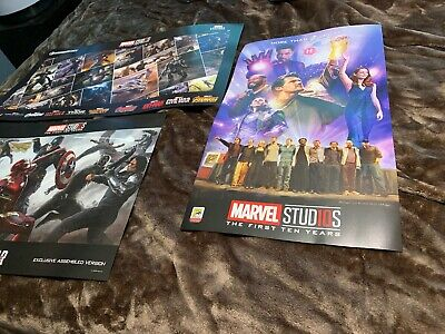 Marvel Studios The First Ten Years 3 Poster Lot SDCC 2018 Marvel Legends Series