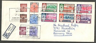 Oman 1970 definitives. - Registered first day cover to Germany - SG110-121