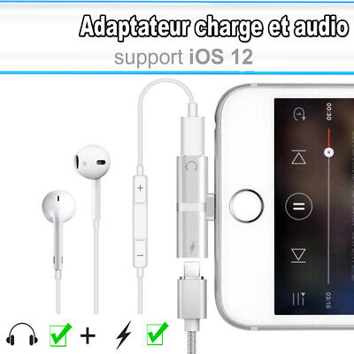 adaptateur iphone X XS XR MAX 8/7+ chargeur charger écouteur Aux Earpods Adapter