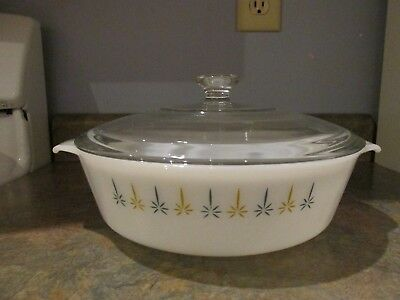 Vintage Fire King Anchor Hocking Candle Glow 2 Qt Round Casserole Dish 438 W/Lid