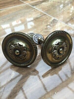 Brass Curtain Tie Backs Hooks Georgian STYLE Rope Edge Old Pair 1980's-Modern