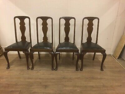 4 Antique Dining Chairs Mahogany Green Faux Leather