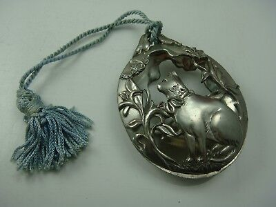 "Vintage 1990 Seagull Pewter Canada 3 3/4"" Oval Cat Flower Ornament"