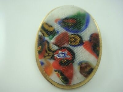Vintage Unusual Oval Millefiori Framed Gold Tone Pin Brooch Textured Finish