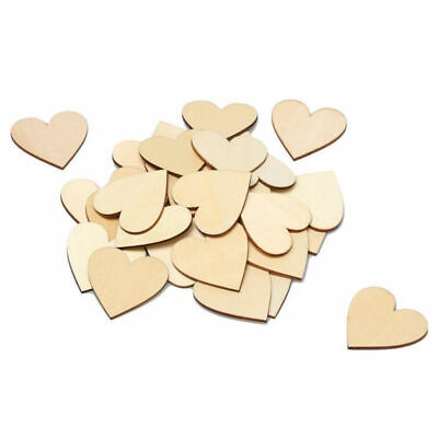 1X(50 Pieces Christmas Blank Wood Heart Embellishments Wood Heart Slices fo K3B7