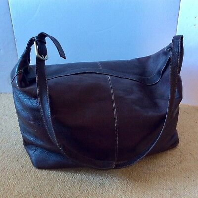 LATICO Genuine All LEATHER Travel Overnighter Luggage Duffle Bag BROWN