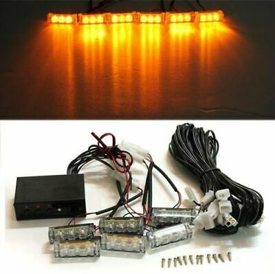 Car 6 LED Amber Flashing Grill Lights Bar Strobe Warning Recovery Breakdown 12V