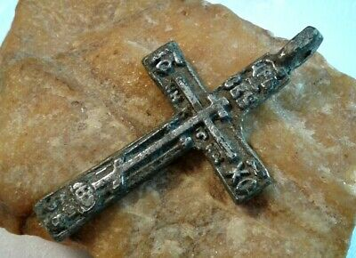 "RARE ANTIQUE c.18th CENTURY LARGE SILVER ""OLD BELIEVERS"" ORTHODOX CROSS PENDANT"