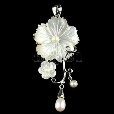 100% Natural White Mother of pearl Abalone Carved Shell Flower Pendant Necklace