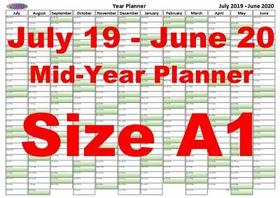 A1 Green Fade Landscape Planner July 2019 -June 2020 Mid Year Wall Chart