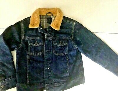 Gap Kids Boys L 10/1 2 Denim Jacket Flannel Lined Jean Trucker Jacket W/ Fleece