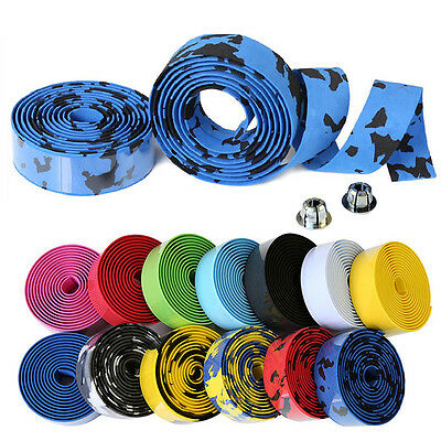 2X MTB Bike Cycling Road Sport Gym Bicycle Cork Handlebar Rubber Tape Wrap+2 Bar