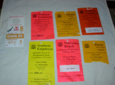 Six (6) Various 1995 Nebraska Cornhuskers Huskers Memorial Stadium Game Passes