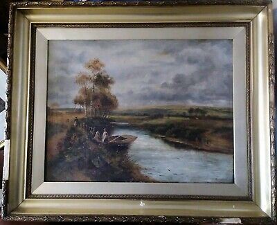 Large Framed Antique Oil On Canvas Signed and Dated M Jackson 1911. River Scene.