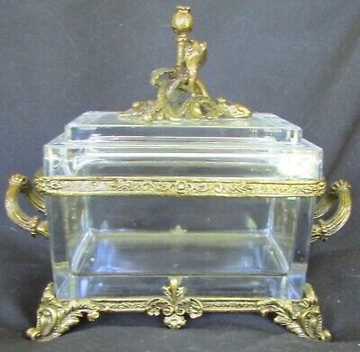 French or European Footed Crystal Glass Dresser  Box Gilt Bronze Poppy Flowers