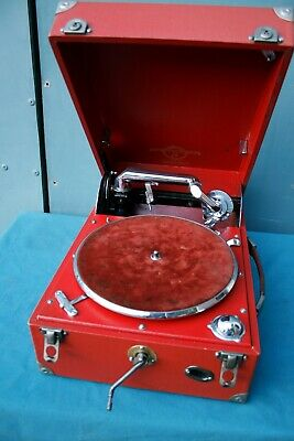 Stunning Columbia 202  wind up gramophone in red -  free uk post