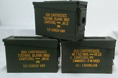 Lot Of 3 Ammo Can 13 M19A1 7.62 Mm M13 200 Cartridges Measures 10.5 X 7 X 4 In