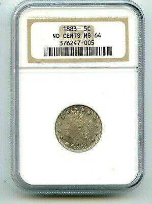 1883 Liberty V Nickel (MS 64) NO CENTS NGC  Very attractive coin!!