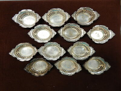 12 Sterling Candy or Nut bowl S. Kind & Sons 1920s era Silver A4780 Oval slotted