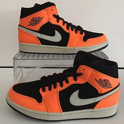 watch 1631d 275d8 Nike Air Jordan 1 Mid Black Orange Cone Light Bone Sz.9 Wmns.