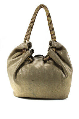 Michael Michael Kors Womens Drawstring Extra Large Shoulder Handbag Gold Beige C