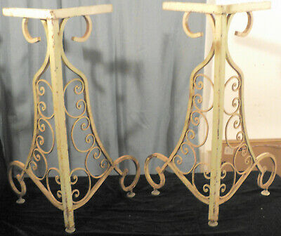 A Pair Of Antique Vintage Ornate Scroll French Bistro Cafe Metal Table Bases