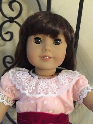"""MINT American Girl Doll SAMANTHA Brown Hair Eyes 18"""" Clothes Shoes Stand Big Lot"""