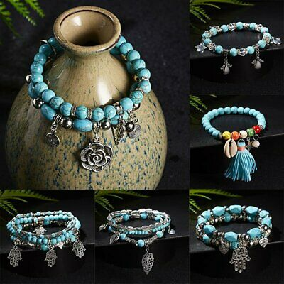 Men Women Natural Stone Turquoise Beaded Charm Bracelet Lucky Jewelry Gifts NEW