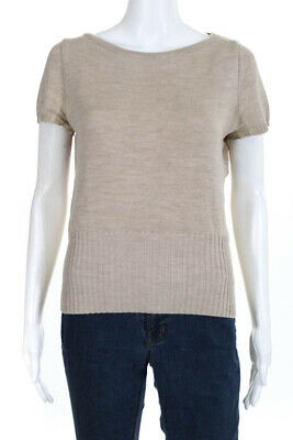 Luca Luca Womens Short Sleeve Knit Top Shirt Beige Wool Size Extra Large