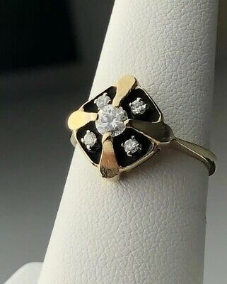 Diamond Ring Victorian Mourning Size 6.5 Black Enamel 14k Solid Gold Band