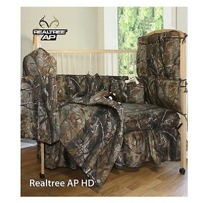 Realtree Camo Crib Set, Camouflage Bumper Sheet Comforter Dust Ruffle