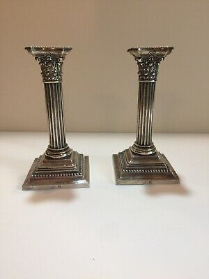 Pair of Antique English Sterling Silver Column Candlesticks, A Little Over 8''