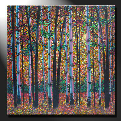 Original Oil Painting Canvas Sunny Birches Autumn Forest Square Signed GeeBeeArt