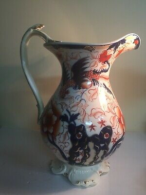 "Large Antique Imari Pitcher w Birds - Red, Blue & Gold Floral Design 12"" Tall"