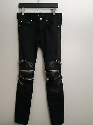 0db05dfc10f SAINT LAURENT BLACK skinny jeans w/ leather patches [Size 30] [new w ...
