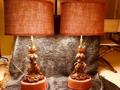 Antique Black Forest Custom Lamps-Late 19th Century Swiss or German