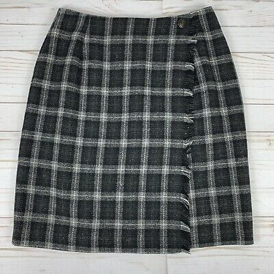 Vintage Easy Pieces Womens 10 Skirt Wool Blend Black White Plaid Back Zipper