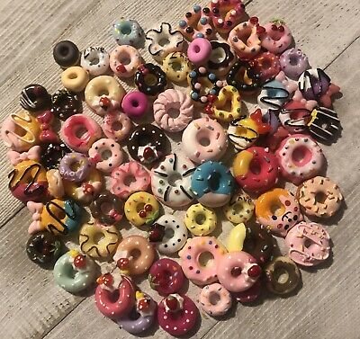 Resin Flat Backs Donut Cabochons Slime Charms Small, Med, Large Doughnuts
