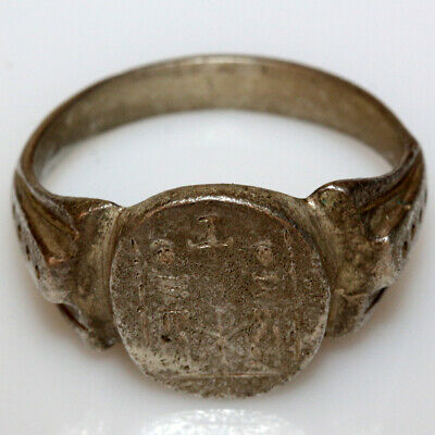 Scarce-Roman Military Silver Decorated Ring Circa 50-100 Ad