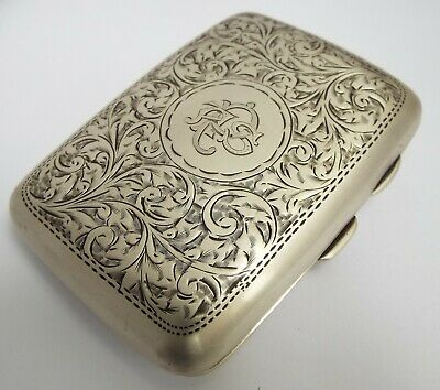 Lovely Decorative Antique Victorian 1901 Solid Sterling Silver Cigarette Case