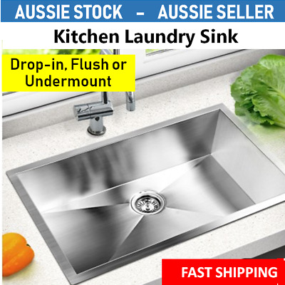 Large Stainless Steel Sink Kitchen Laundry Basin Heavy Duty Food Safe 70x45cm