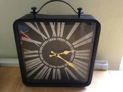 LARGE 25cm square Metal Industrial retro urban style wall or freestanding clock