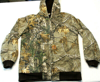 e33f11ef CARHARTT YOUTH LARGE 14 - 16 Hooded Jacket Flannel Quilted Realtree ...