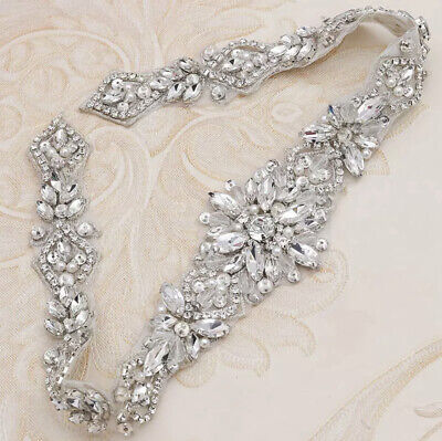 Bridal Wedding Bridesmaid Dress Sparkly Silver Crystal Pearl Applique Sash Belt