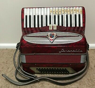 Beautiful mid-century red Serenelli piano accordion